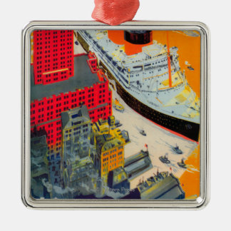 French Line Travel Poster, Havre to Plymouth, NY Christmas Ornament