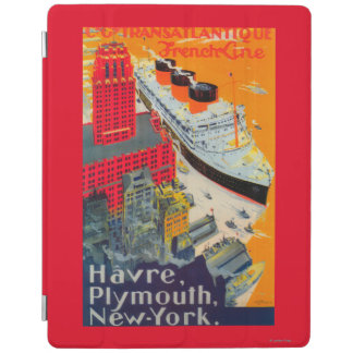 French Line Travel Poster, Havre to Plymouth, NY iPad Cover