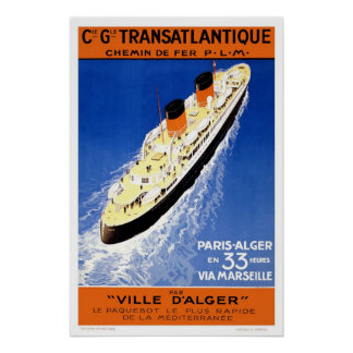 French Line Vintage Passenger Ship Travel Posters
