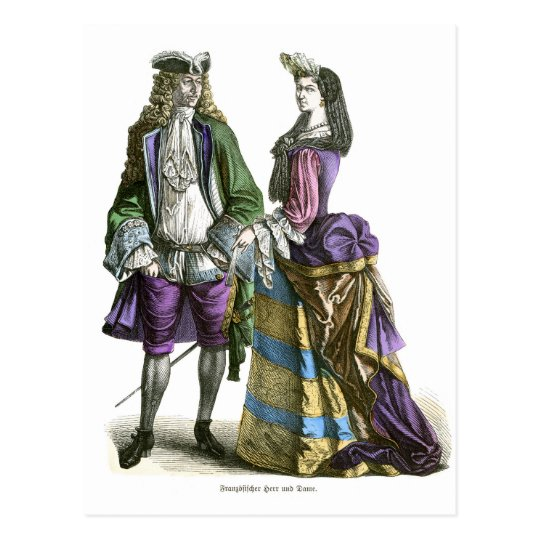 French lord and lady 18th Century Fashion Postcard