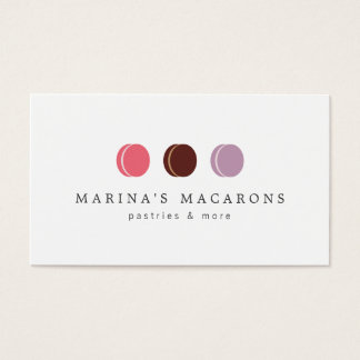 FRENCH MACARON TRIO LOGO 3 on White Business Card