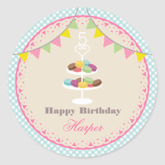French Macarons Birthday Party Blue Gingham Sticker