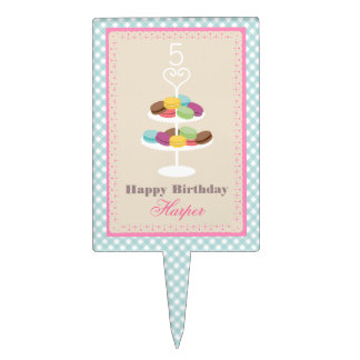 French Macarons Blue Gingham Birthday Cake Pick