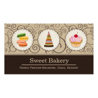 French Macaroons Cupcake Dessert Bakery Store Pack Of Standard Business Cards