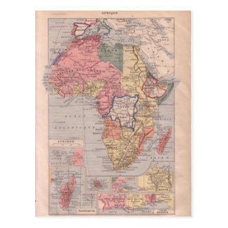 French map of Africa 1920 Postcard