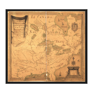 French Map of North America by Franquelin (1685) Canvas Print