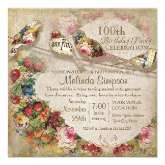 French Market Modern Vintage Birds Birthday Party 13 Cm X 13 Cm Square Invitation Card