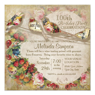 French Market Modern Vintage Birds Birthday Party Personalized Announcements