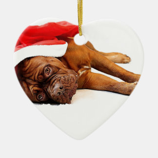 French Mastiff in Santa Hat Christmas Ornament