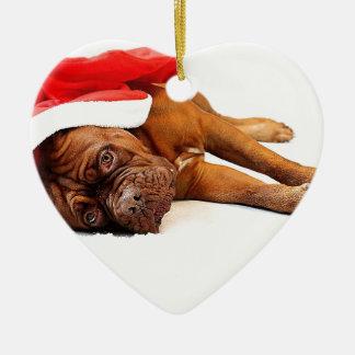 French Mastiff in Santa Hat Christmas Ornament