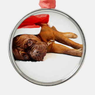 French Mastiff in Santa Hat Silver-Colored Round Decoration