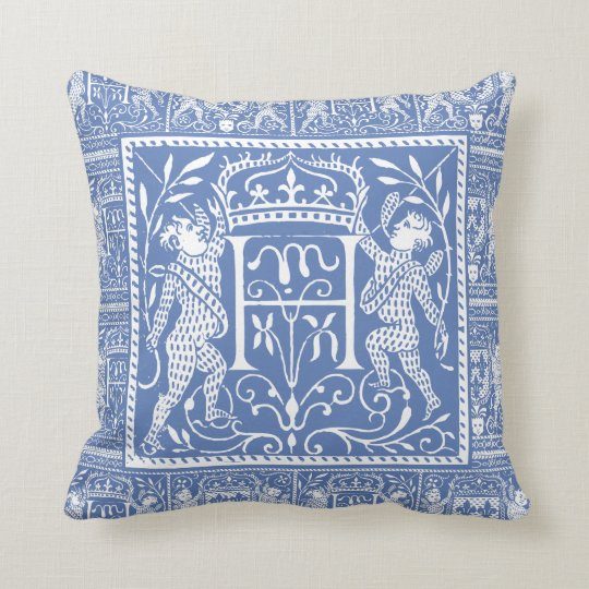 French Mediaeval Chateau Blue Letter H Cushion