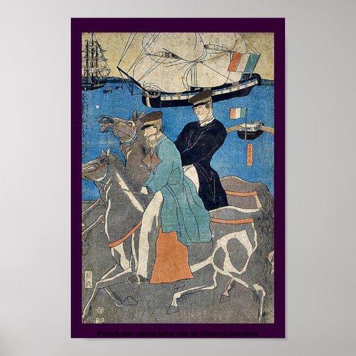 French men taking horse ride by Utagawa,Sadahide Posters