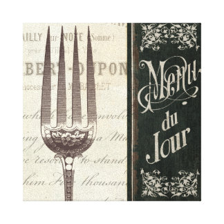 French Menu and Fork Canvas Print