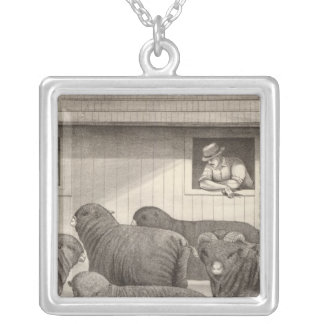 French merino sheep silver plated necklace