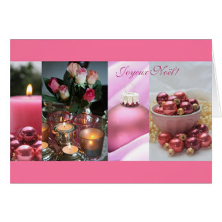 french merry christmas pink christmas collage greeting card