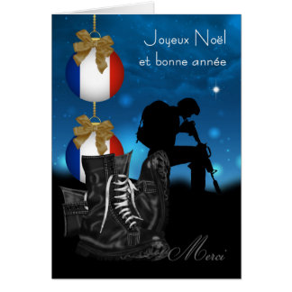 French Military Christmas Greeting Card With Pride