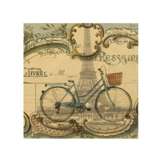 french modern vintage bike paris eiffel tower wood wall art