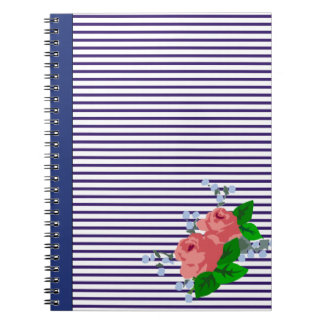 French navy blue sailor stripes and roses notebooks