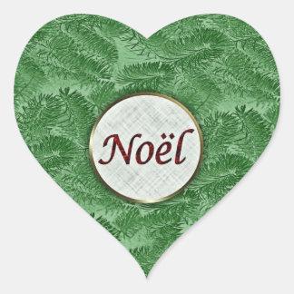 French Noel Green Spruce Heart Sticker