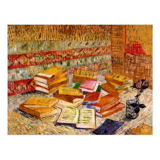 French Novels & Rose (F359) Van Gogh Fine Art Postcard