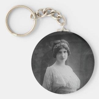 French Opera Singer Marguerite Beriza Portrait Basic Round Button Key Ring