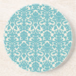 French Ornament Vintage Antique Damask Blue, White Drink Coasters