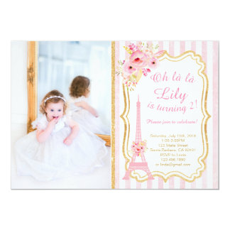 French Paris Birthday Invitation for Girl