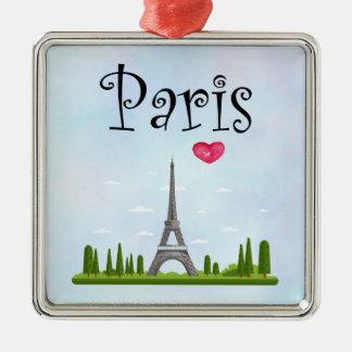 French Paris with Eiffel Tower Christmas Ornament