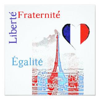 French patriotic 13 cm x 13 cm square invitation card