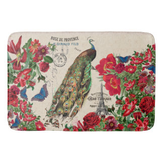 French Peacock Bird Rose Flower Paris Bath Mat