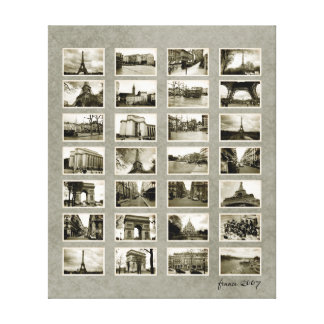 French Photo Collage Canvas Print