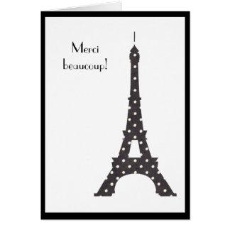 French Polka Dots Eiffel Tower Thank You Card