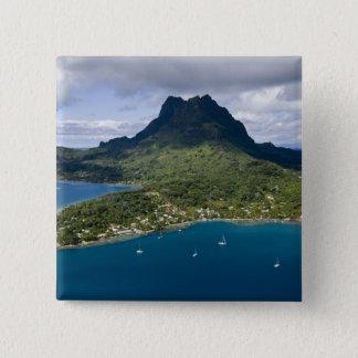 French Polynesia, Bora Bora. Aerial view of 15 Cm Square Badge