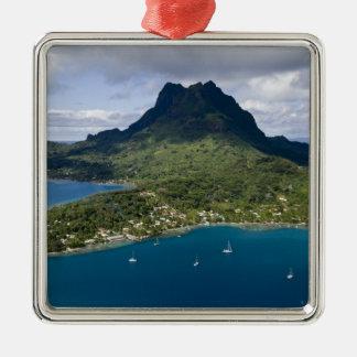 French Polynesia, Bora Bora. Aerial view of Silver-Colored Square Decoration