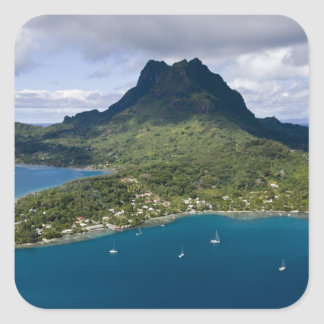 French Polynesia, Bora Bora. Aerial view of Square Sticker
