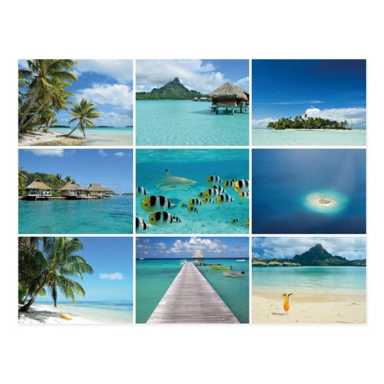 French Polynesia collage postcard