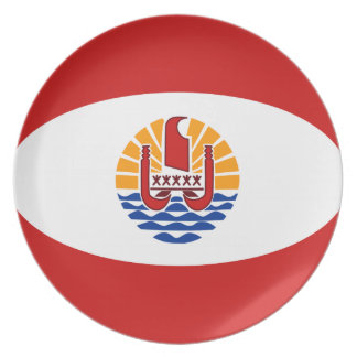 French Polynesia Fisheye Flag Plate
