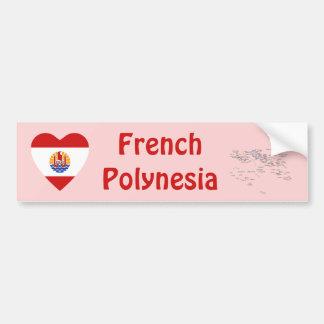 French Polynesia Flag Heart + Map Bumper Sticker Car Bumper Sticker