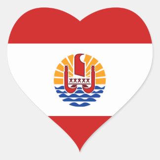 French Polynesia Flag Heart Sticker