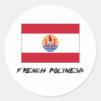 French Polynesia Flag Round Sticker