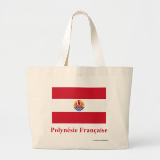 French Polynesia Flag with Name in French Large Tote Bag