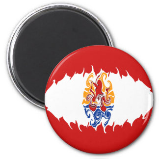 French Polynesia Gnarly Flag 6 Cm Round Magnet