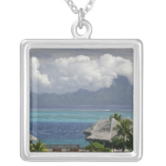 French Polynesia, Moorea. A view of the island Silver Plated Necklace