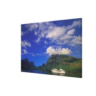 French Polynesia, Moorea. Cooks Bay. Cruise ship 3 Canvas Print