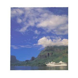 French Polynesia, Moorea. Cooks Bay. Cruise ship 3 Notepad
