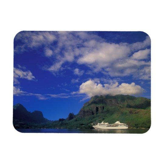 French Polynesia, Moorea. Cooks Bay. Cruise ship 3 Rectangular Photo Magnet