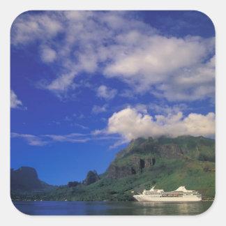 French Polynesia, Moorea. Cooks Bay. Cruise ship 3 Square Sticker