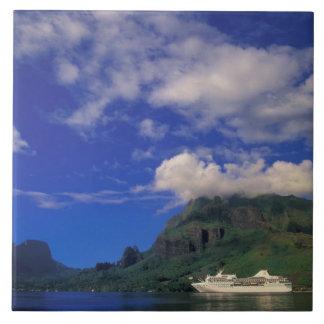 French Polynesia, Moorea. Cooks Bay. Cruise ship 3 Large Square Tile