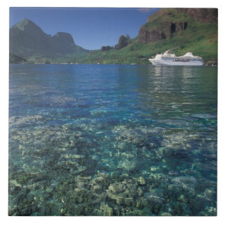 French Polynesia, Moorea. Cooks Bay. Cruise ship Tile